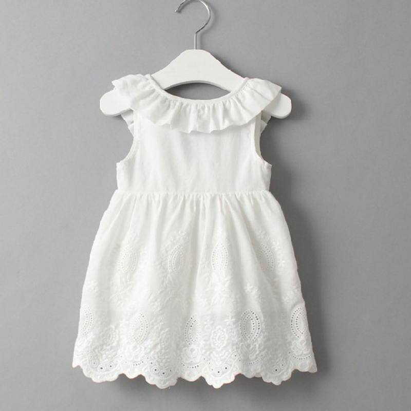 Baby Girl Dresses Solid White Girl Dresses 2018 Summer Style Children's Clothing Dresses For Girl Vestido Infant Girl Clothes