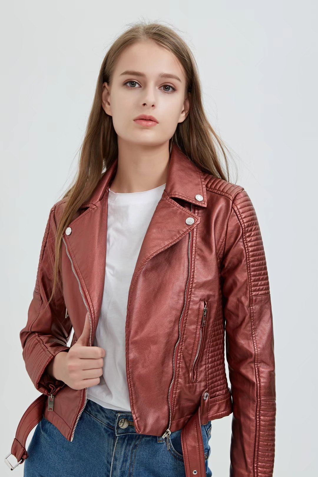 Zipper Faux multi Noir argent Slim Femmes Pu Mode Manteau Manches Vestes Courtes rose blanc Hiver Pleine Veste Moto rouge Cuir g4PnHxq5w