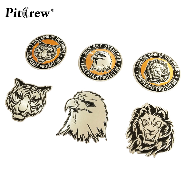 King Tiger Head Shape Metal 3D badge Decal Emblem Decor Sticker Universal Car T