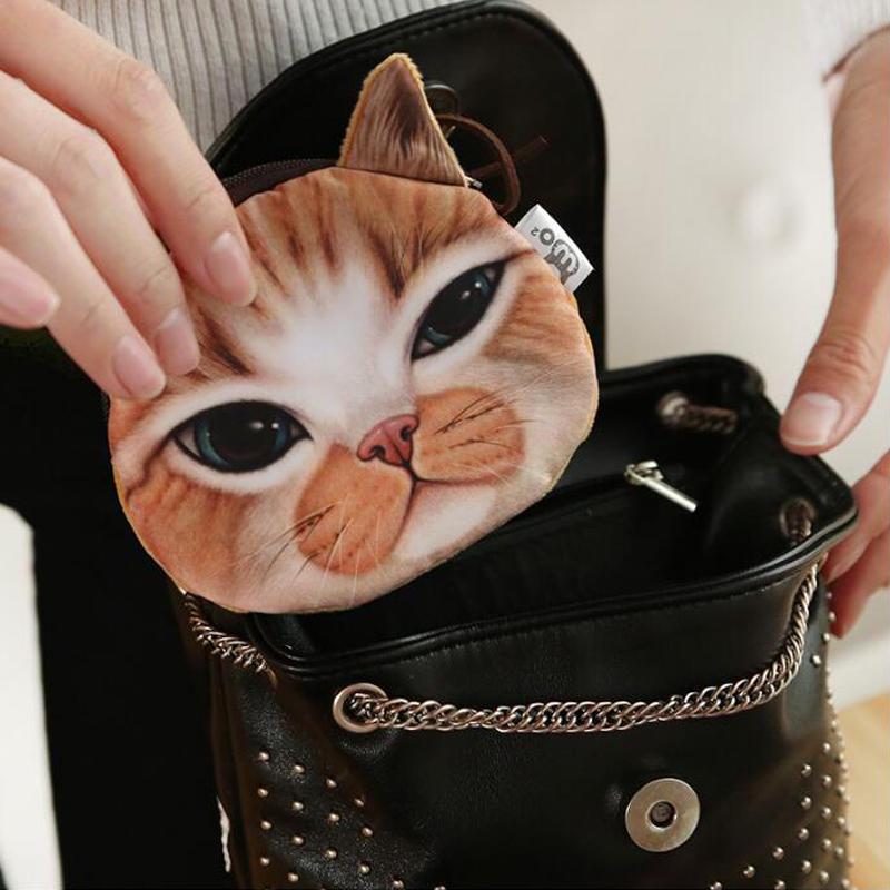 New Cute Cat Face Printed Zipper Coin Purses For Kids Cartoon Wallet Bag Coin Pouch Children Purse Holder Women Coin Wallets 2017new coin purses wallet ladies 3d printing cats dogs animal big face fashion cute small zipper bag for women mini coin purse