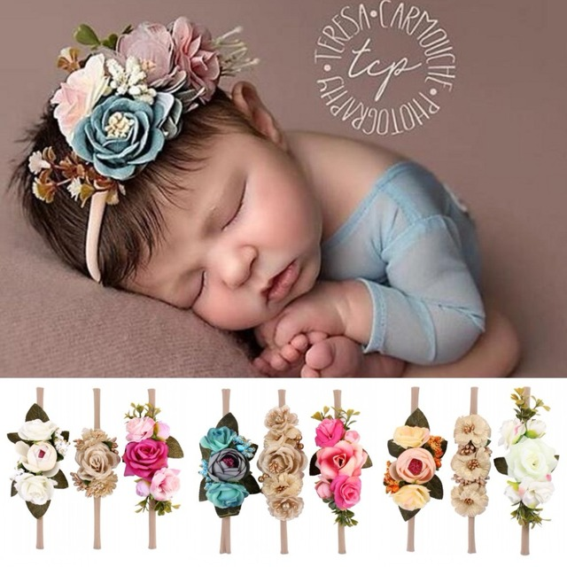 c4571b2b6 3PCS/lot Wreath Newborn Girls Flower Headband Garland Infant Toddler Baby  Girl Accessories Photograph Festival Wedding Headwear