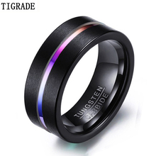 Tigrade Men Thin Line Tungsten Ring Wedding Bands 8MM Carbide Rings for Engagement Party Jewelry Rainbow