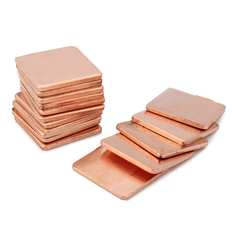 100pcs 15 x 15 x 1.2mm Pure Copper Cooling Plate Thermal Conductivity Copper Thermal Conductivity High as 401 W/MK