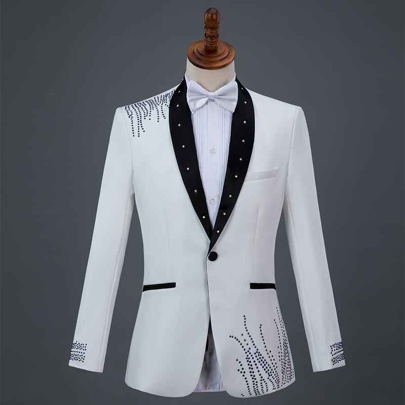 Cozimastarla New Men Performance Costumes with Diamonds Mens Stage Show Suits Singers Hosts Chorus Wedding Groom Suits Blue Red