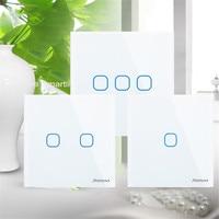 EU UK Standard SESOO Touch Switch 1 Gang 2 Gang 3 Gang 1 Way Crystal Glass
