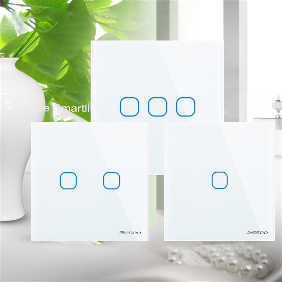 EU/UK Standard SESOO Touch Switch 1 Gang/2 Gang/3 Gang 1 Way,Crystal Glass Panel, Fireproof Wall Light Switch for Smart Home smart home eu standard 1 gang 2 way light wall touch switch crystal glass panel waterproof and fireproof