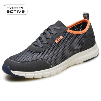 Camel Active Summer Mesh Shoes Men Lace-Up Flat Sapatos Black Hollow out Comfortable Father Shoes Man Casual Shoes 17801