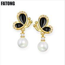 New earrings creative black drop butterfly female wild fashion sweet wholesale. J062