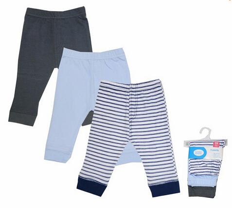 2016 Nuevas Polainas Del Bebé 100% Algodón 3 Unids/lote Caliente Pantalones para Bebés Azul/Rosa Despojado Pantalones Infantiles de Moda Niños ropa