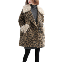 2018 New Winter Leopard Wool Coat Women Thick Warm Fleece Trench Parka Plus Size Pea Coat Woolen Clothes Female Abrigo Largo