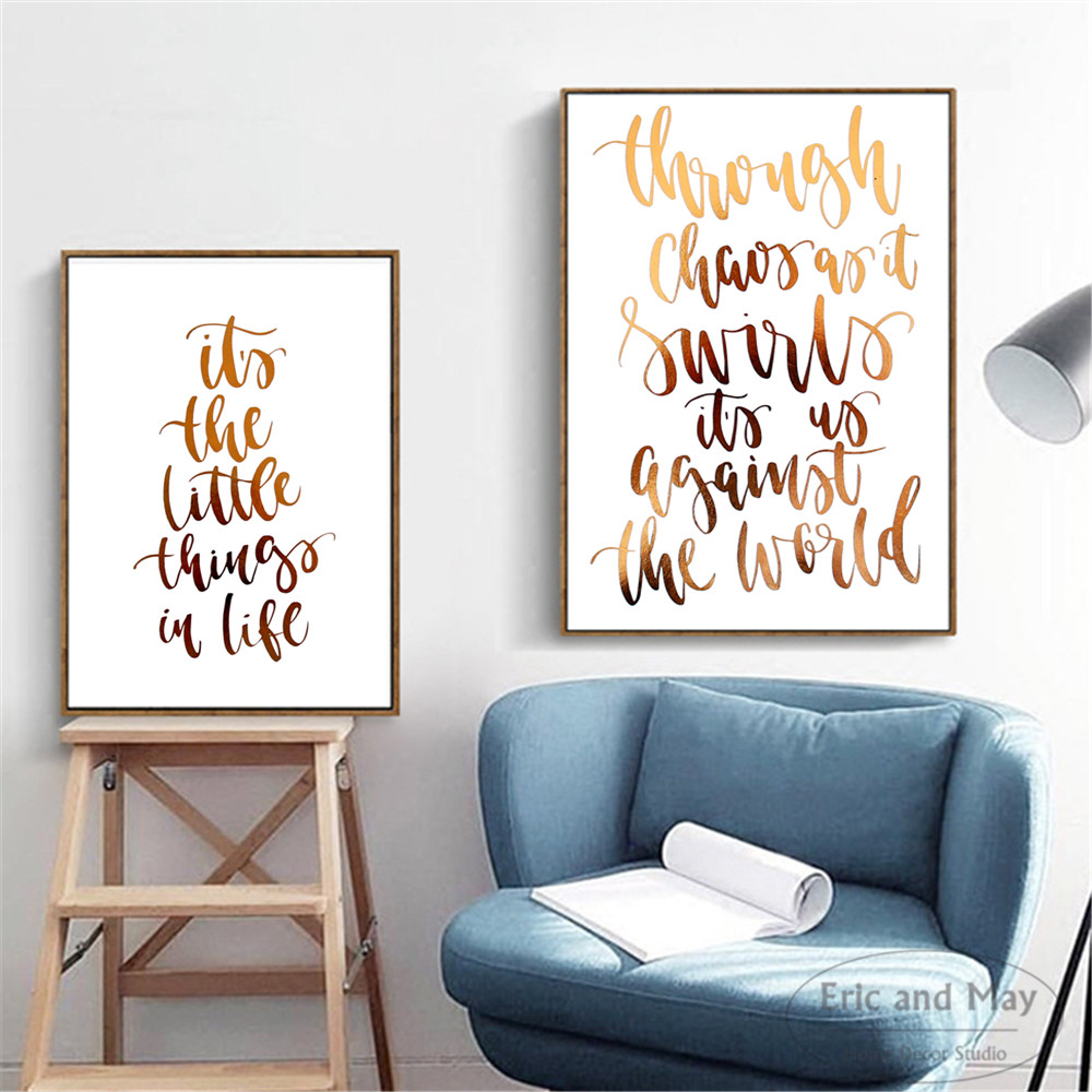 670dffc6cde Motivational Gold Letters Painting Poster Print Decorative Wall Pictures  For Living Room No Frame Home Decoration Accessories-in Painting    Calligraphy from ...