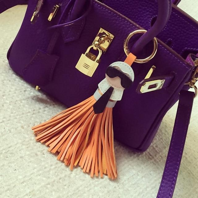 Cute key chain for Women Kar trinket Bag Bugs Car key ring Tassels Bag Charm Holder Ornaments Leather keychain K008-black 3