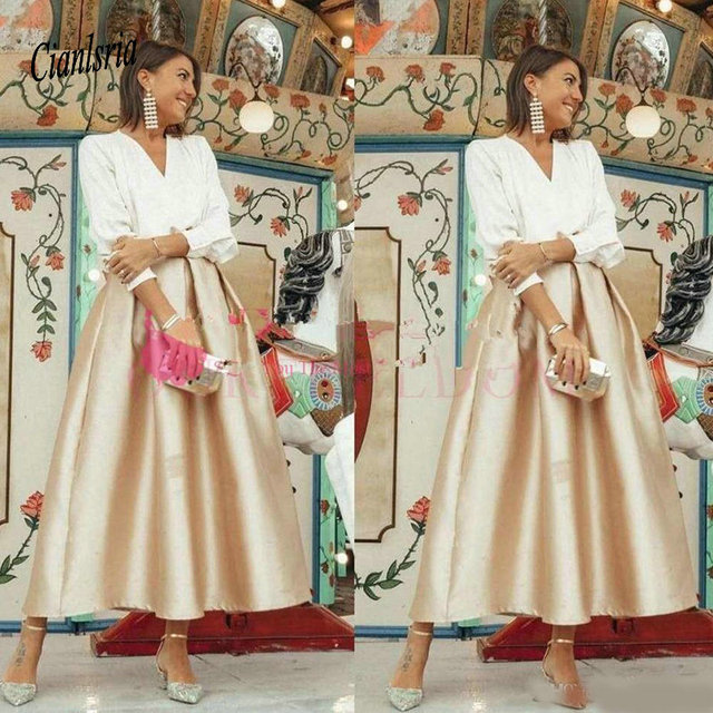 Elegant V Neck Mother's Dresses Ankle Length A Line 3/4 Long Sleeve Formal Occasion Mother Of The Bride Dresses Outfits