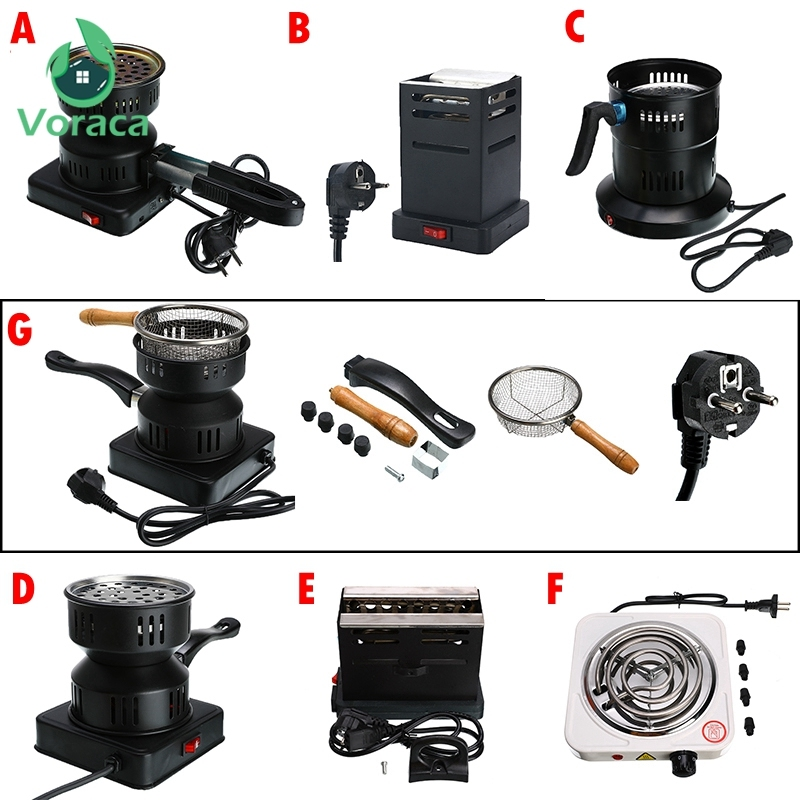 Professional Shisha Hookah Charcoal Stove Heater Mini Square Charcoal Oven Hot Plate Coal Burner Pipes Accessories EU Plug 220V
