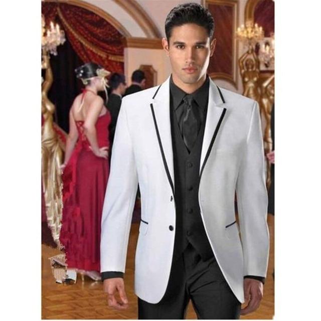 2017 Latest Coat Pant Design White Black Wedding Suits for Men Groom ...