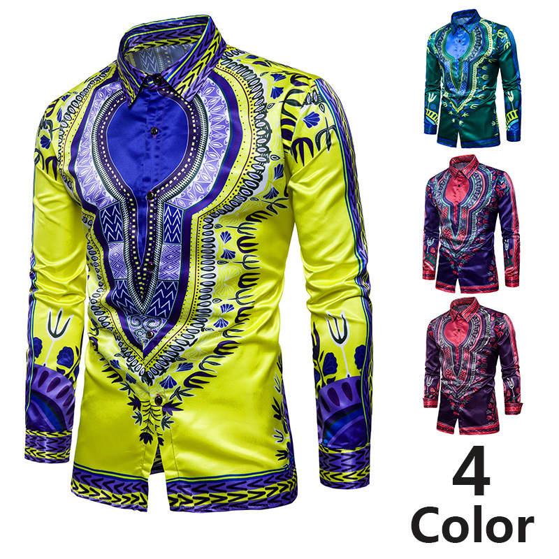 Men Fashion Printed Muslim Shirt Ethnic Loose Version National Style Large Size Long Sleeve High Quality New Middle East Clothes