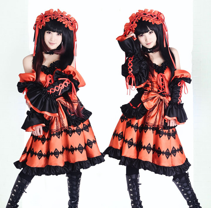 Anime Date A Live Tokisaki Kurumi Cosplay Costume Fancy Dress Carnaval Disfraces Halloween Costumes for Women S-XL
