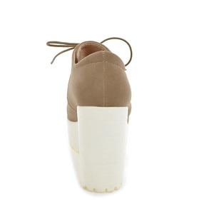 Image 3 - BONJOMARISA Womens Keroan Style Square High Heel Shoes Woman Lace Up Round Toe Platform Pumps Big Size 34 43