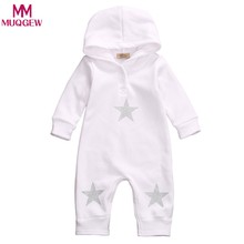 Newborn Infant Baby Boy Girl Star Feather Hooded Romper Jumpsuit Clothes Autumn Long Sleeve Baby Rompers Fashion Kids Clothing(China)