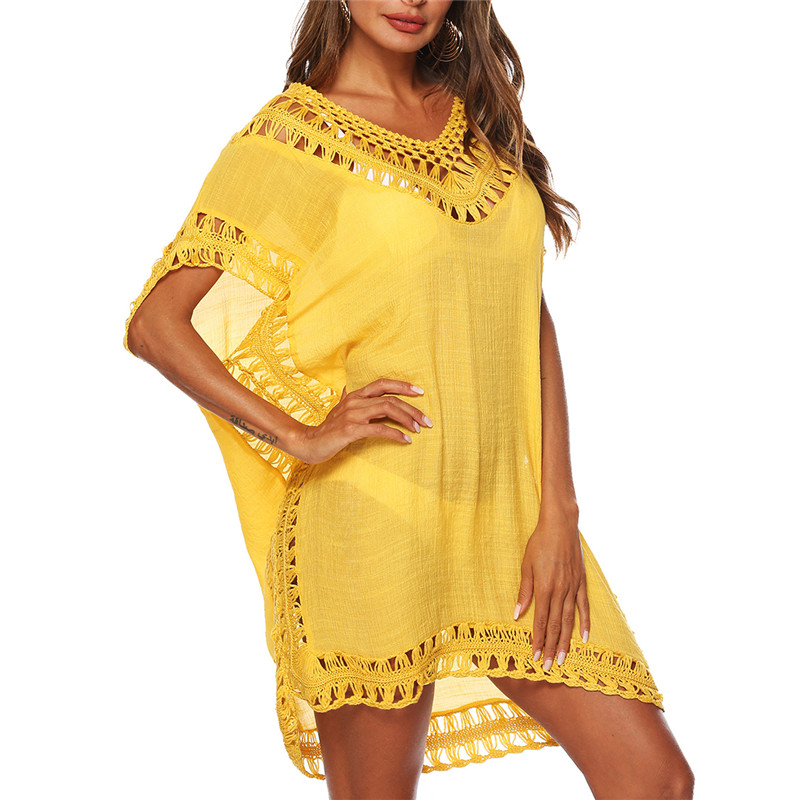 Sexy Women Loose Beach Dress Tunic Solid Bikini Cover Ups Swimsuit Beachwear Swimwear Hollow Out Beach Dress Robe De Plage(China)