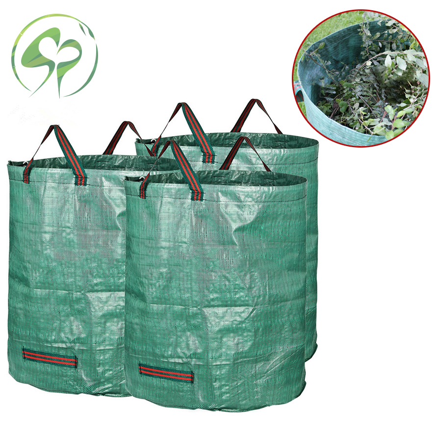 Foldable Leaf Trash Can For Garden Lawn Cleaning Heavy Duty Garden Rubble Waste Woven Rubbish Bags Yard Waste Bins