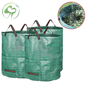 Foldable Leaf Trash Can for Garden Lawn Cleaning Heavy Duty Rubble Waste Woven Rubbish Bags Yard Bins
