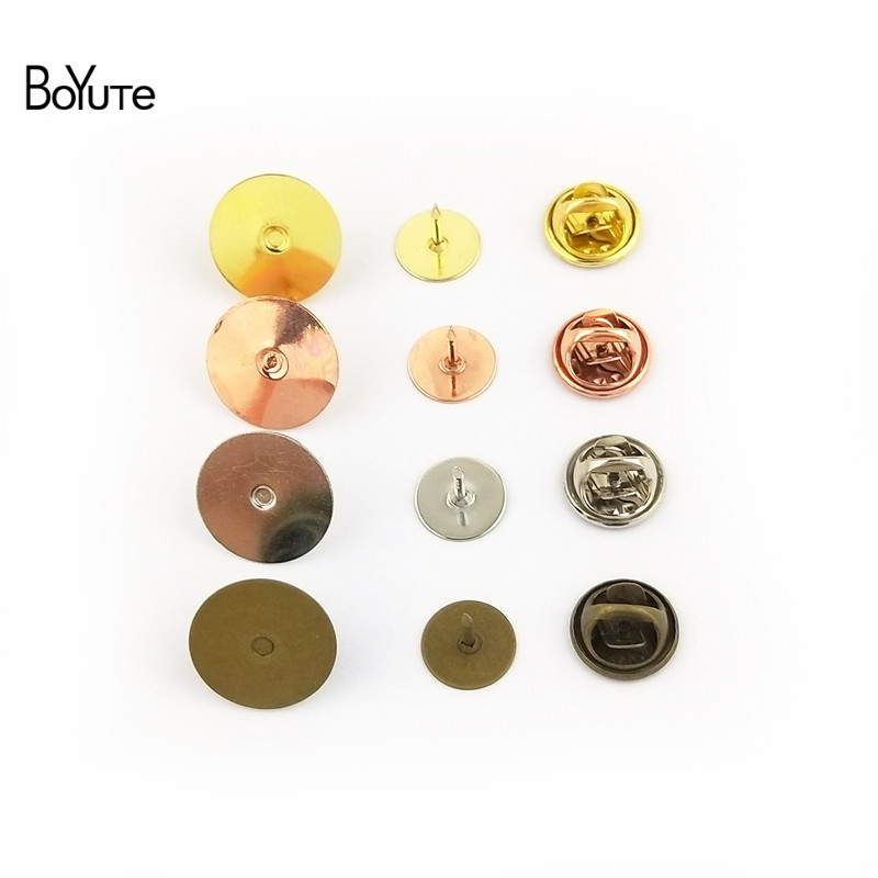 BoYuTe 200 Sets 6 Colors Round 10MM 15MM Flat Base Brooch Pins with Butterfly Clasp Diy Jewelry Findings Components