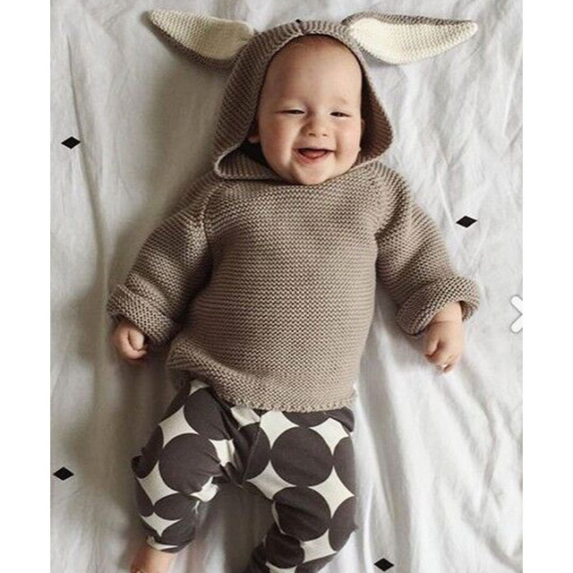 2016 Children Autumn Winter New Baby Boys Sweaters 3D Rabbit Cotton Pullover Kids Girls Knitted Sweater 1-5Y Girls Boy Cardigan