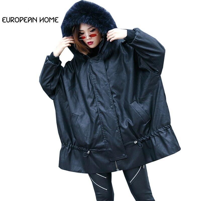 2019 Winter   Leather   Jacket Women Coat Plus Size New Real fur collar Hooded Loose Streetwear PU Faux   leather   Outerwear Female