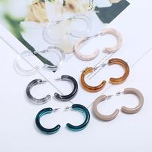 SUKI 2019 Marble Earrings Acetate Temperament C-shaped Wild Simple Fashion Korean Wave Female Sexy