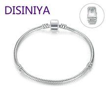 DISINIYA     High Quality Wholesale Silver Color Basic Snake Chain Magnet Clasp for Charm Bracelet Beads & Jewelry Making PA9010 trendy beads layered magnet clasp flower print bracelet for women