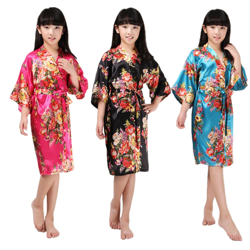 8Color 2019 Gilrs Yukata Japanese Kimono Traditional Costumes Silk Keids Pajamas 2-16Yars Flower Dress Height 90-150CM Bathrobe