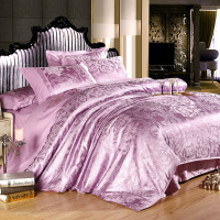 100% Satin Silk Embroidery Jacquard Bedding Set duvet cover,sabanas bed linen/home textile juegos de sabanas Purple bed sheet