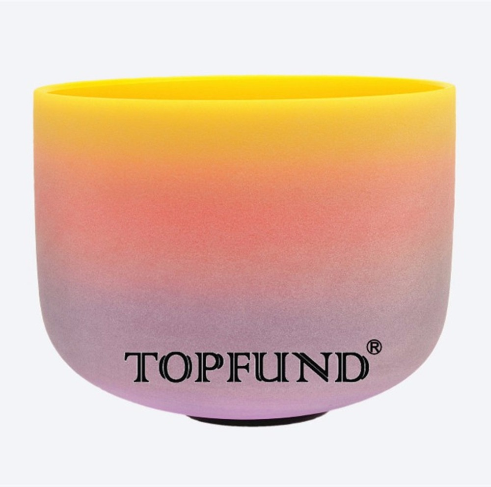 TOPFUND Rainbow Frosted C Note Sacral Plexus Chakra Quartz Crystal Singing Bowl 8 With Free Mallet and O-Ring rainbow color e note solar plexus chakra frosted quartz crystal singing bowl 12 inch with free mallet and o ring