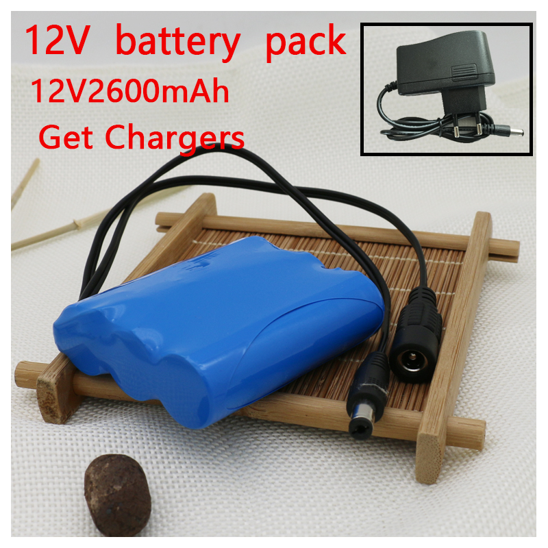 Cros Free Shipping 11.1V 12V 2600mAh 18650 Batteries Lithium-ion Battery Pack Backup Power Ups CCTV +12.6V 1A Charger