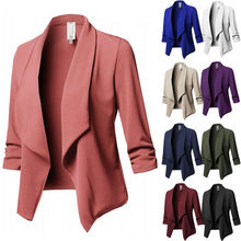 10colors Blazers Women Solid Color Suit Long Sleeved Lapel Casual Small Suit Ladies Blazers Work Wear Jacket S-5XL Plus Size(China)