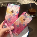 Fashion mix colorful Gradient crystal transparent back cover for iphone 6plus 6s plus 6 6s grid pattern woman gifts