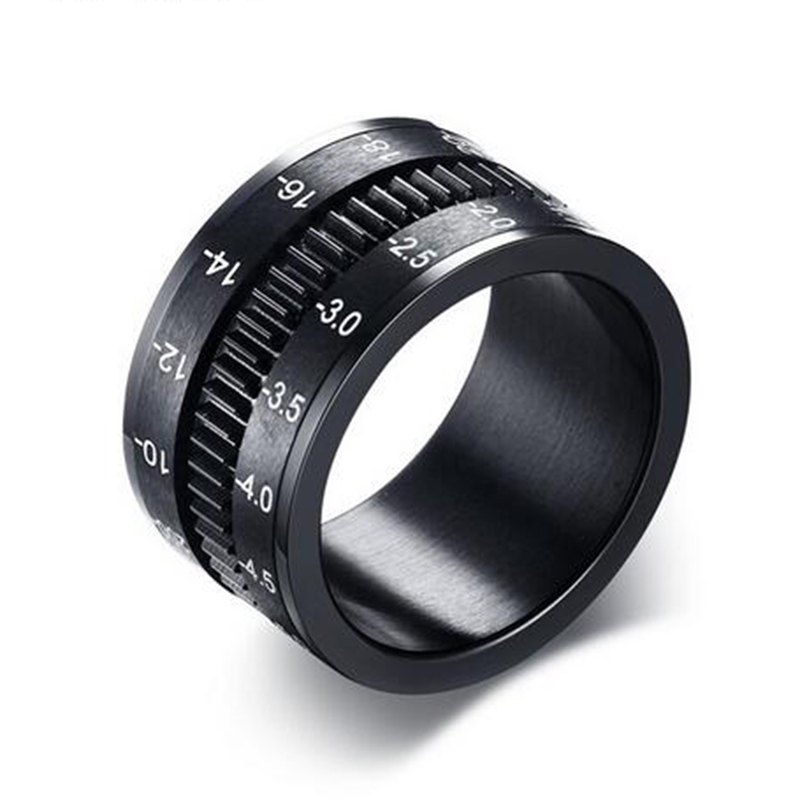 Unique Men's Rings Stainless Steel SLR Camera Lens Ring for Men Black Fashion Ring Spinner Band Photographers Accessories