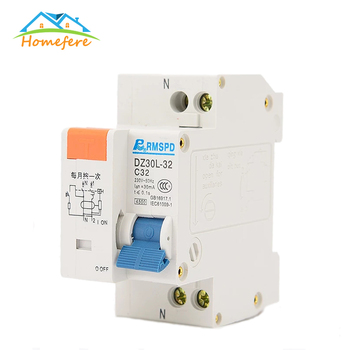 Homefere 230V 1P+N 10A/16A/20A/25A/32A Residual Current Circuit breaker with Over Current and Short Current Leakage Protection