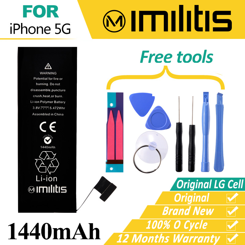 100 Original Imilitis Battery for iPhone 5 Bateria Replacement for iPhone 5G Bateria 1440mAh With Tools
