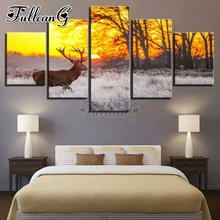 FULLCANG 5 piece diy 5d diamond painting deer animal & sunset glow full square/round drill mosaic embroidery picture FC835