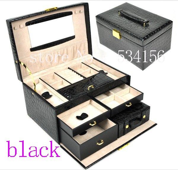 3 layers black luxurious pu leather jewelry box earrings jewelry packaging display box gift box (28.5 * 19 * 16 cm)
