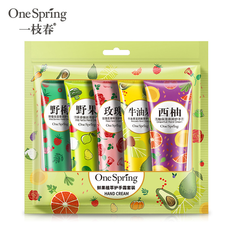 One Spring Plant Fruit Hand Cream Set Moisturizing Hydra Moisturizing Nourishing Anti-chapping Whitening Skin Care Rose