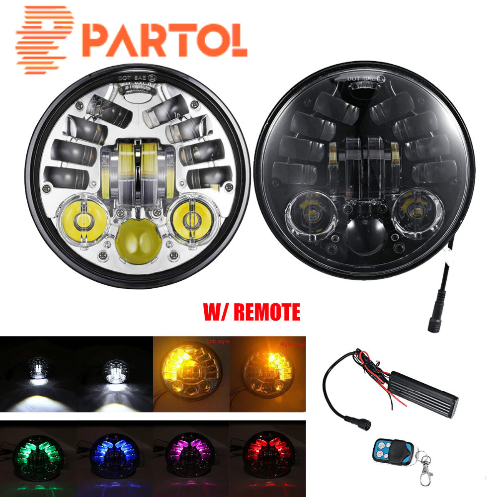 Partol 5.75 5 3/4 H4 Motorcycle Led Headlight Projector HeadLamp Bulb With Turn Signal For Harley Bobber Touring