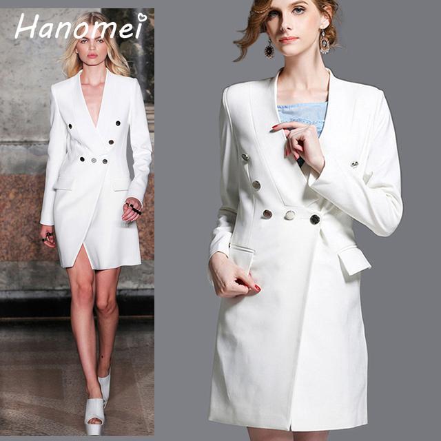 Sexy Com Decote Em V Profundo Feminino Blazer Único Botão Mulheres Blazers E jaquetas 2017 Moda Slim Branco Jaqueta de Manga Longa Outwear C407