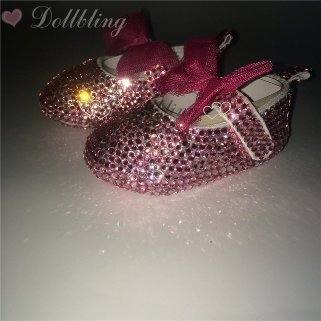 Pink Rhinestones Bling Ballerina Stunning Keepsake Gift Custom Handmade beads pearls bow Elegance Riband Infant First Walkers