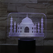 Usb 3d Led Night Light India Taj Mahal Atmosphere Lamp Decoration RGB Kids Baby Gift Famous Buildings Table Lamp Bedside neon