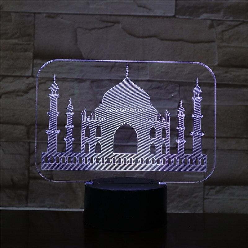 Usb 3d Led veilleuse inde Taj Mahal atmosphère lampe décoration RGB enfants bébé cadeau célèbres bâtiments Table lampe chevet néon