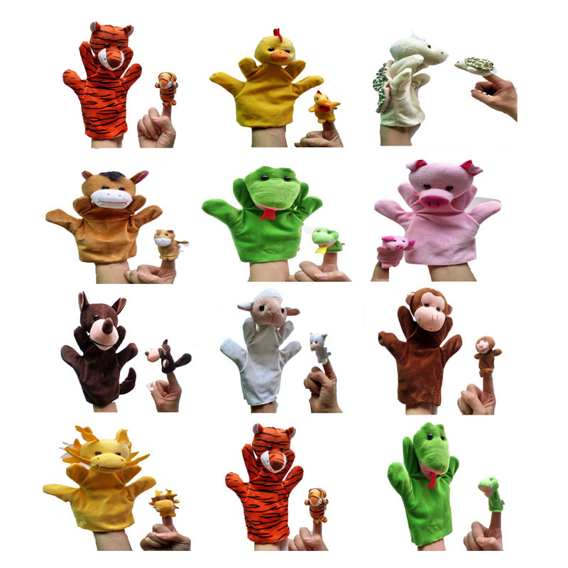 Hand Puppet Animal Plush Toys For Baby Mini Animal Puppet Fox Giraffe Turtle Bunny Monkey Plush Toy Parent Child Interactive Toy