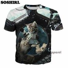 SOSHIRL Space Cat T Shirt 3D Animal Summer Tee Unisex Men's Cool Galaxy Tops Sweet Couple T-shirt Harajuku US Size Dropship